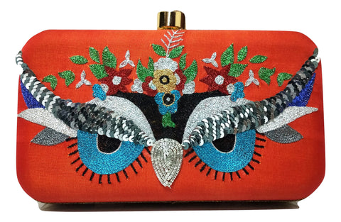 Orange Clutch With Zardozi Work