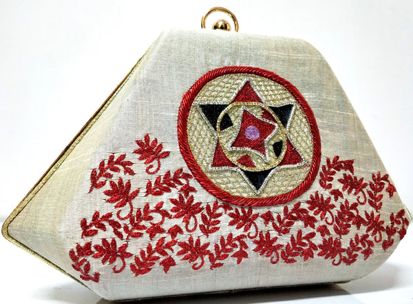 Beige & Red Clutch With Assamese Traditional Aari Work