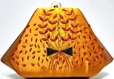 Golden & Red Clutch With Zardozi Work