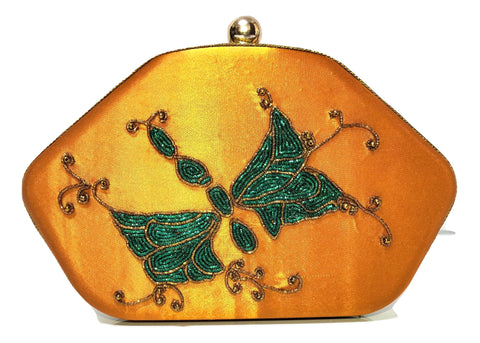 Golden & Green Clutch With Zardozi Work