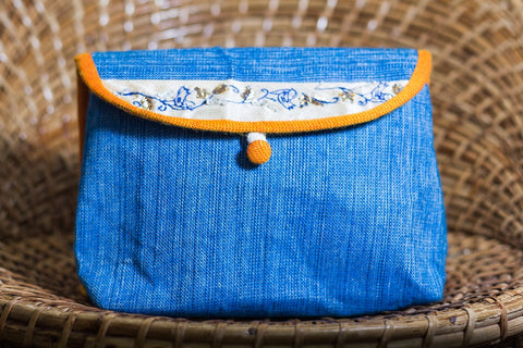 Cotton Handmade Makeup Pouch (Blue)