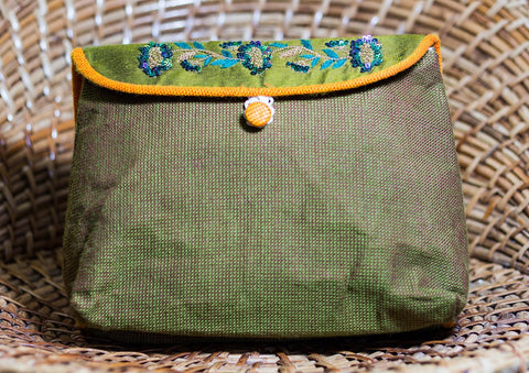 Cotton Handmade Makeup Pouch (Olive Green)