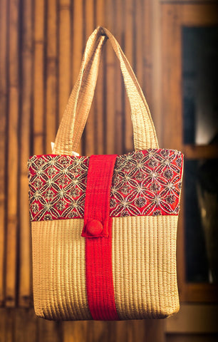 Raw Silk Bag with Zardozi work (Beige & Red)