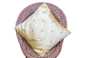 Satin Cushion Cover with Zardozi (Pale Yellow)