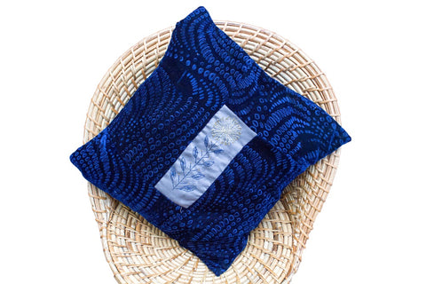 Velvet Cushion Cover with Aari Work (Royal Blue)