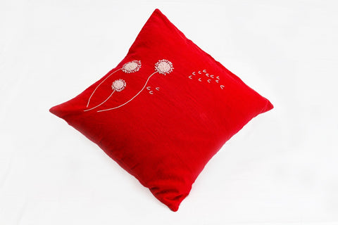 Cotton Cushion Cover with Hand Embroidery (Red)
