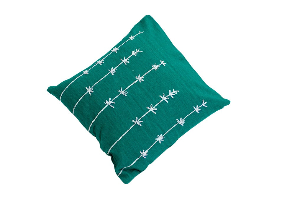 Cotton Cushion Cover with Hand Embroidery (Aqua Marine)