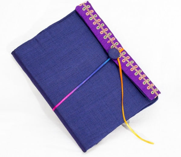 Handmade Diary Cover with Aari Work (Royal Blue)
