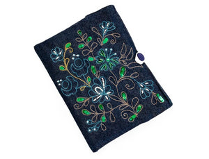 Handmade Denim Diary Cover with hand embroidery