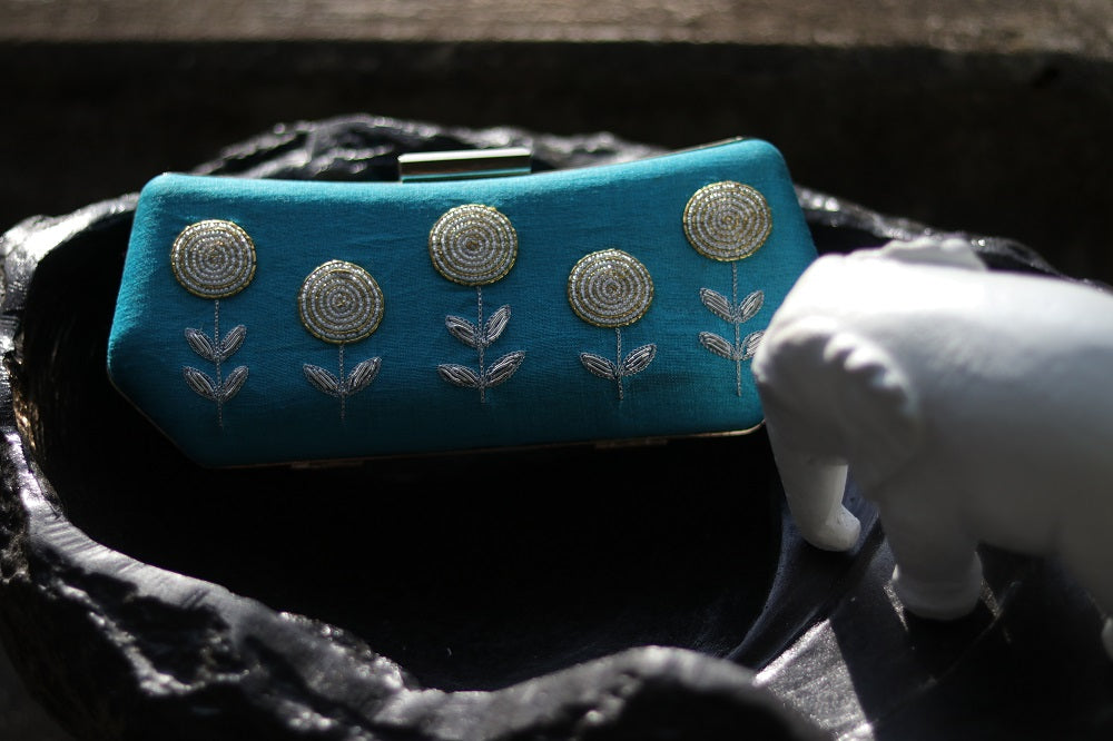 Blue Clutch with Silver Zardozi Work
