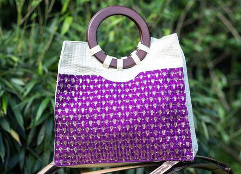 Raw Silk tote Bag with Zardozi work (Beige & Purple)