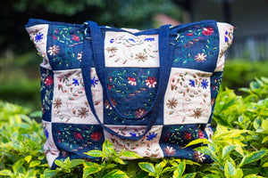 Denim bag with Aari embroidery(Denim Blue)