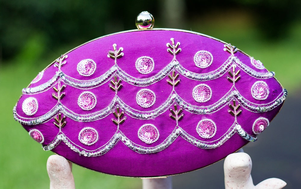 Violet Clutch with Zardozi Work
