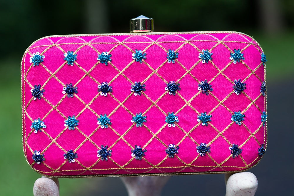 Pink Clutch with Traditional Zardozi Work
