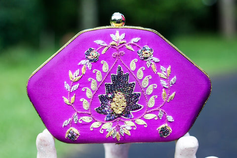 Purple Clutch with Zardozi Work