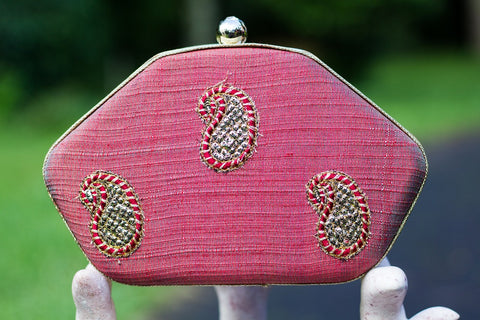 Shaded Red Clutch with Zardozi Work