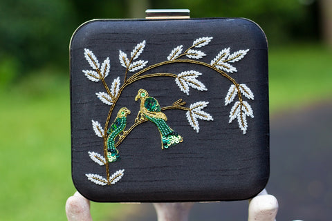 Black Clutch with Embroidery Work