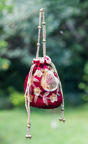 Velvet Handmade Potli Bag with Zardozi Work (Maroon & Golden)