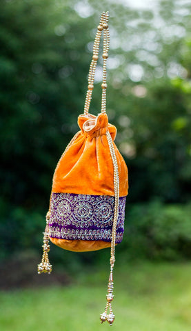 Velvet Handmade Potli Bag with Zardozi Work(Mustard)
