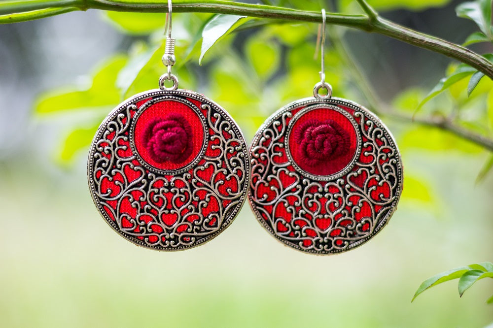 Handmade Earring with 3D embroidery setting (Red & Silver)