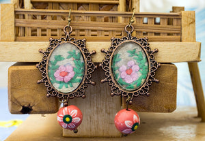 Earrings with hand embroidery setting (Peach & Green)