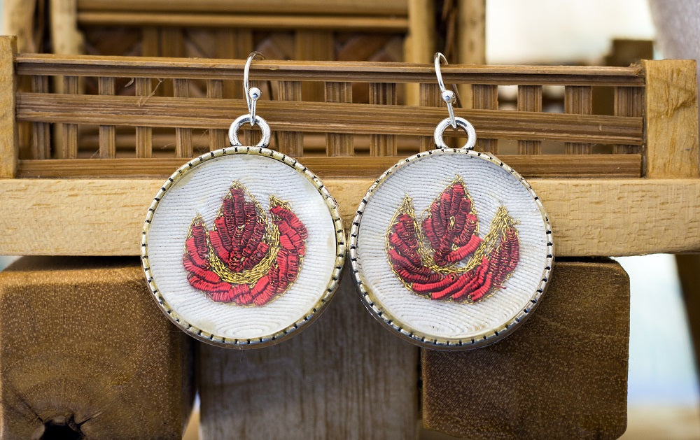 Handmade Earrings with zardozi work setting (Red)