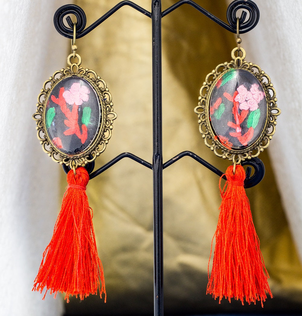 Tassel Earrings with hand embroidery setting (Red)