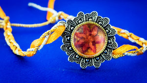 Rakhi with Hand Embroidery Setting (Orange & Red)