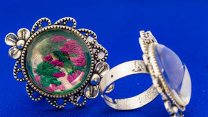 Finger Ring with Hand Embroidery Setting (Pink & Green)