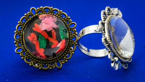 Copy of Finger Ring with Hand Embroidery Setting (Red & Pink)
