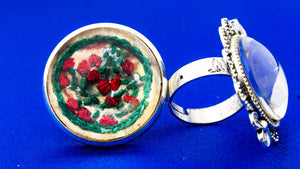 Finger Ring with Hand Embroidery Setting (Green)