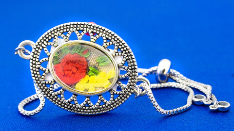 Bracelet with Hand Embroidery Setting (Red & Yellow)