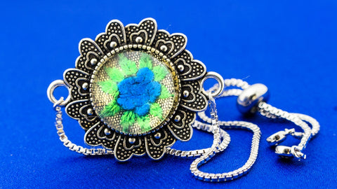 Bracelet with Hand Embroidery Setting (Green & Blue)