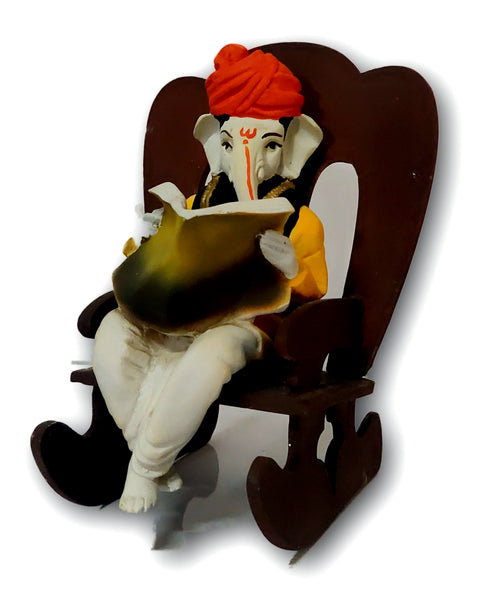 Ganesha Resting On Rocking Chair Statue