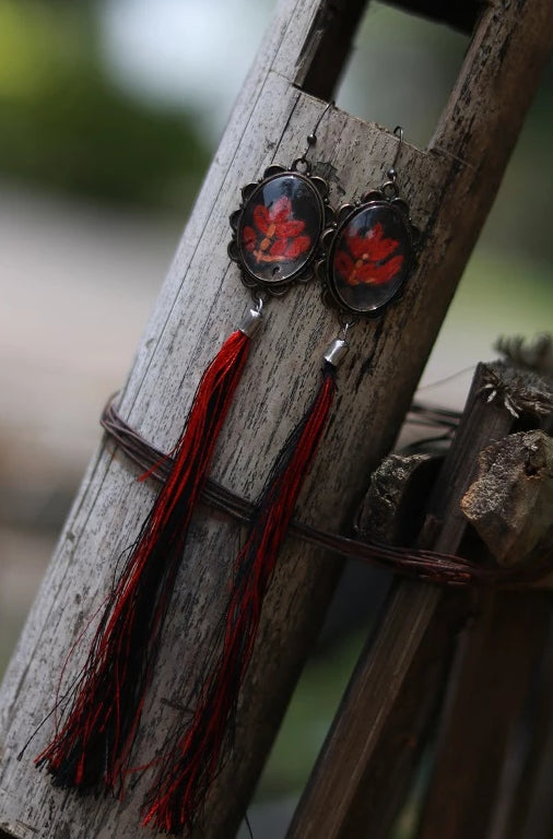 Handmade Tassels Earrings with hand embroidery setting (Red & Black)