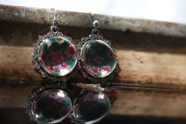 Earrings with hand embroidery setting (Pink & Green)