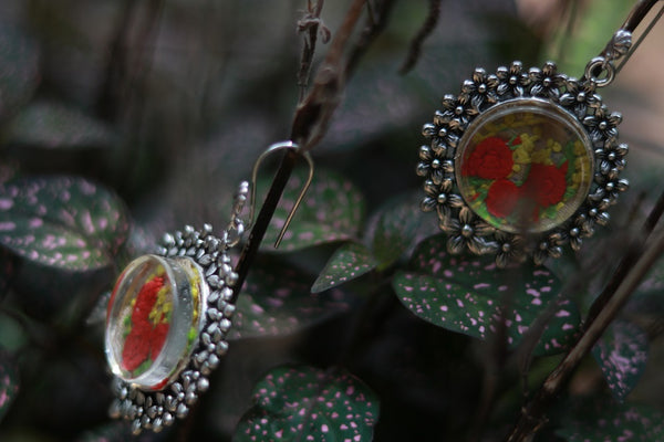 Earrings with hand embroidery setting (Red & Yellow)