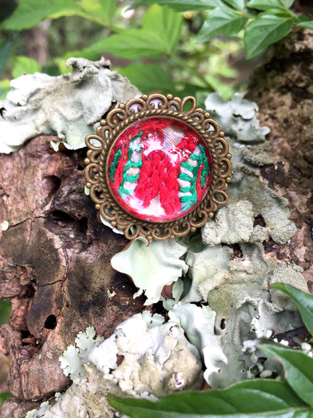 Finger Ring with Hand Embroidery Setting (Red)