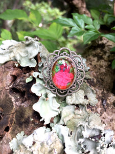 Finger Ring with Hand Embroidery Setting (pink)
