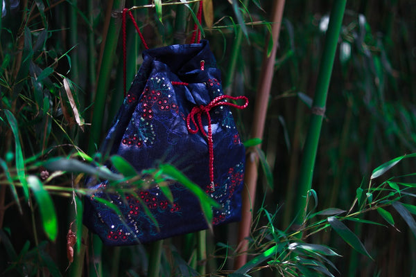 Denim shoulder bag with zardozi embroidery (Navy blue & Red)