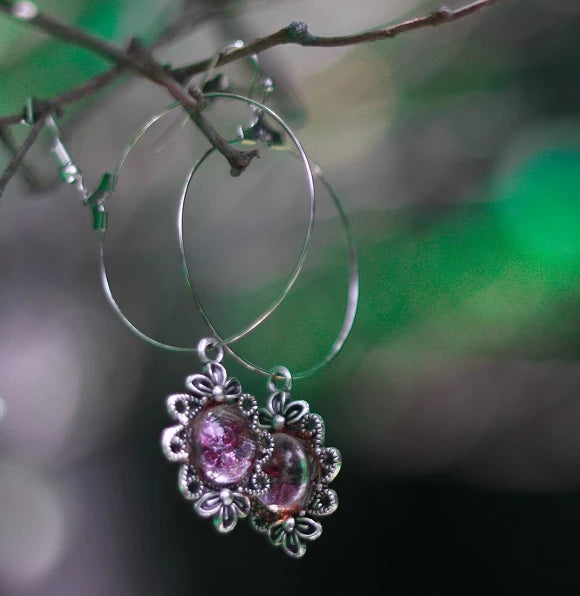 Handmade Earrings with zardozi work setting (Pink)