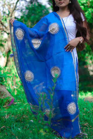 Hand Embroidery Chanderi Cotton Dupatta (Royal Blue)