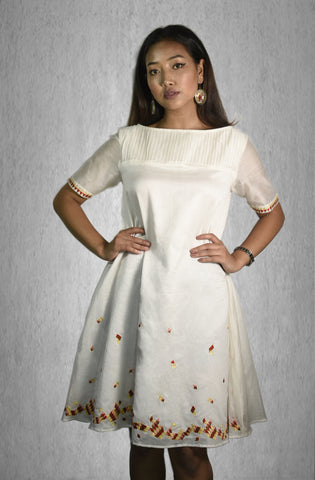 Hand Embroidery Pin Tuck Yolk Dress in Chanderi Silk
