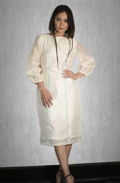 Hand Embroidery Princess Cut Shift Dress in Chanderi Silk