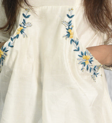 Hand Embroidery A line Pocket Dress in Chanderi Silk