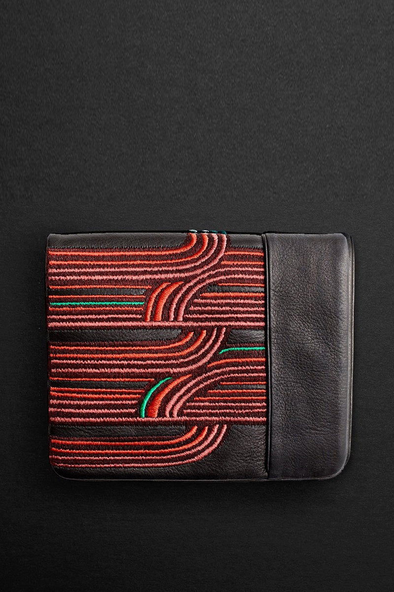 retro squire wallet in terracotta