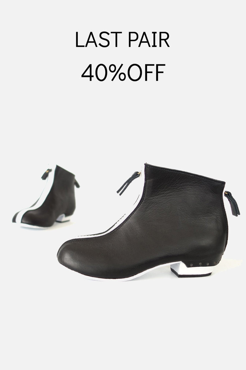 booker & co mod zip boots in black and white at stockroom