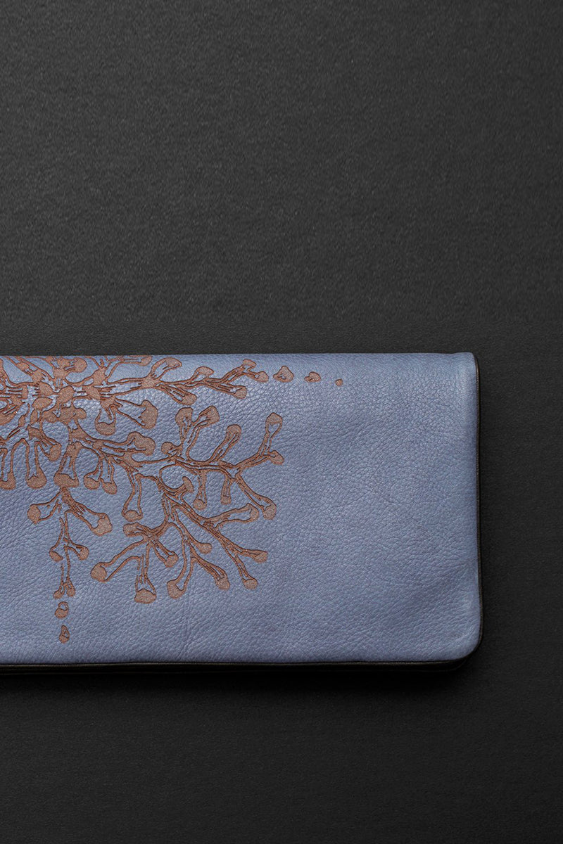 coral etched slimline wallet in blue