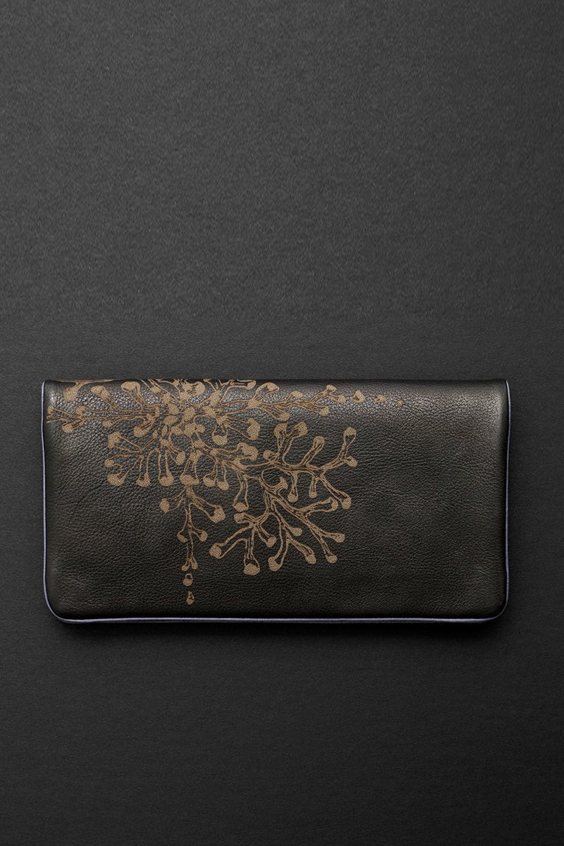 coral etched slimline wallet in iris