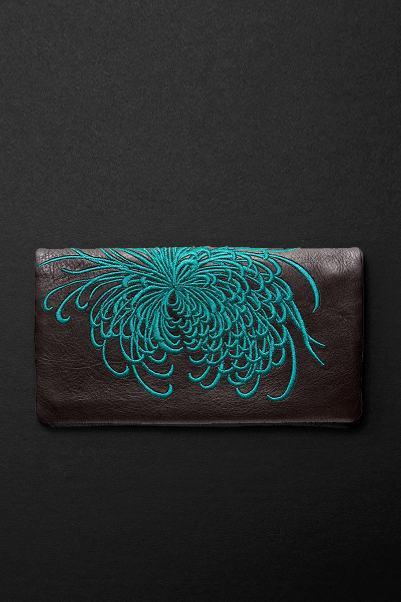 fire burst slimline wallet in teal